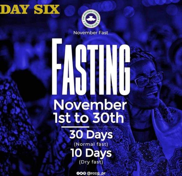 Day 6 RCCG November 2019 Fasting Prayer Points
