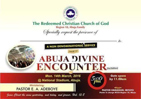 RCCG Abuja Divine Encounter March 2016.